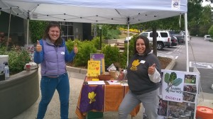 Jess Gimpel and Brianna Abundiz tabling at the BriarPatch Co-op for Earth Day, 2015.