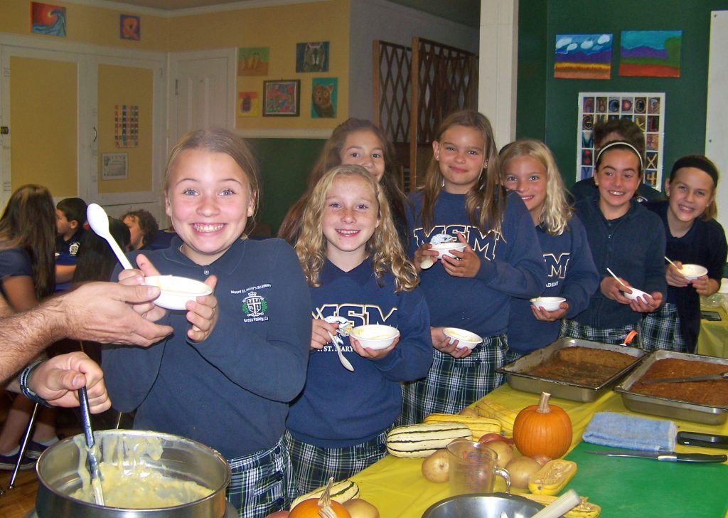 Mt. St. Mary's students tasting a delicious butternut squash potato soup and muffins created by chef Ike Frazee of Ike's Quarter Cafe' for Tasting Week