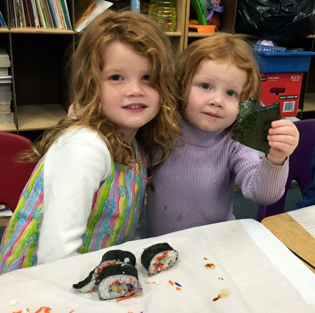 making sushi as part of Tasting Week, 2016 - Alta Sierra Elementary School