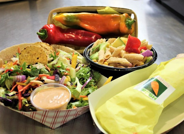 Southwest salad, pasta primavera, and a chicken fajita wrap all featuring Riverhill Farm's organic, local peppers? Now that's what we call Foothills FRESH!