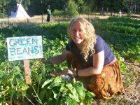 filling up a basket at u pick at food love farm, nevada city