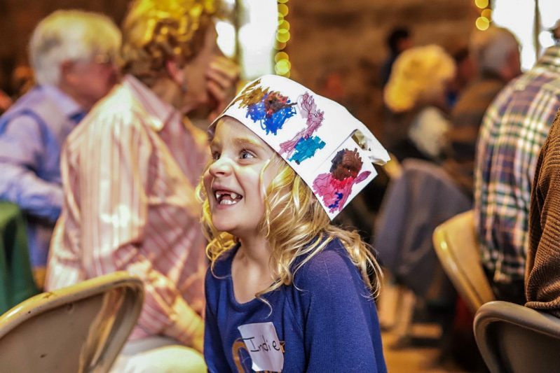 2019 - Roger Strong's granddaughter with painted chef hat at Soup Night - Jason Scallin photographer - media release on file